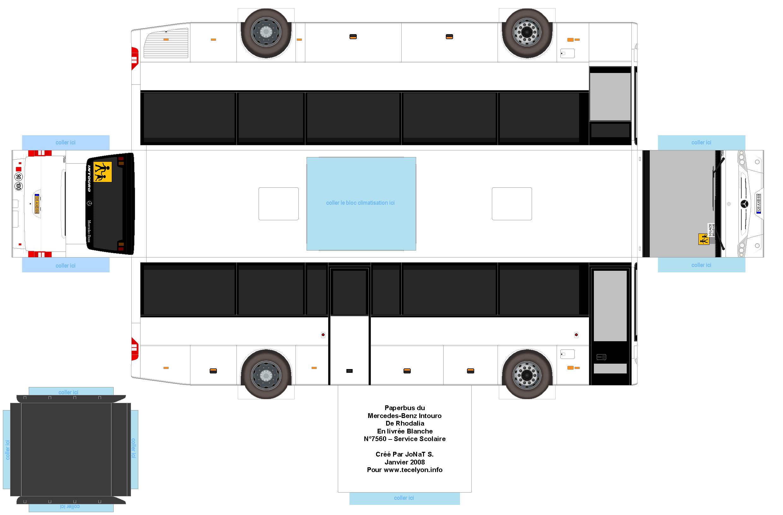 Mercedes Benz Intouro F White School Line Paper